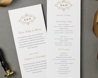 Flat Wedding Program Template | INSTANT DOWNLOAD | Ornate | Flat Tea Length | Editable Colors | Mac or PC | Word & Pages
