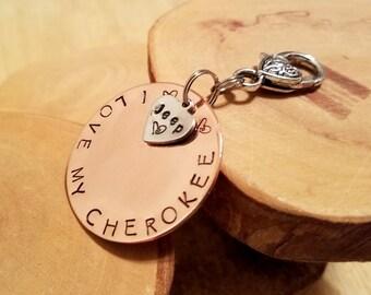 CHEROKEE Jeep Legacy line hand stamped copper keyfob keychain OIIIIIIIO