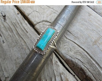 ON SALE Turquoise ring handmade and signed in sterling silver by Lee McCray, a Navajo silversmith
