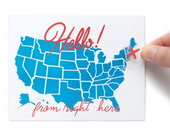 Hello From Here USA Postcard with Sticker