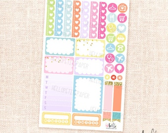 Multicolor functional sticker sampler - planner stickers