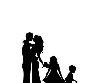 Family Silhouette Wedding Cake Topper Mr & Mrs Silhouette Cake Topper Bride and Groom Silhouette with children custom cake topper custom a30