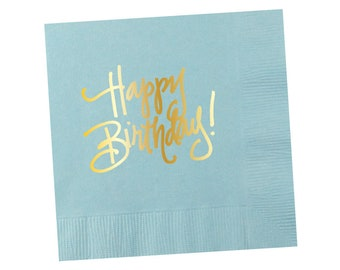 Napkins | Happy Birthday - Light Blue (in stock)