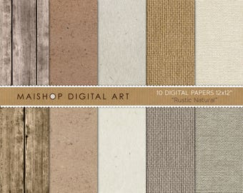Digital Paper 'Rustic Natural' Scrapbook Papers Wood, Cardboard, Sparkled and Burlap Textures for Backgrounds, Scrapbook, Cards, Crafts...