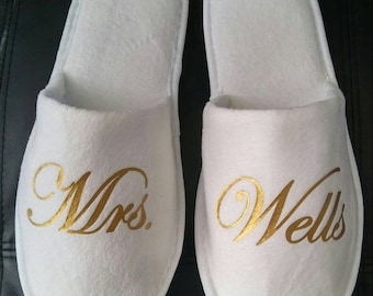 Bridal Shower Gift - Bride Slippers - Personalized Bridal Slippers - Bridal Parties - Wedding Slippers  - Bridesmaid Gifts - Wedding Gift