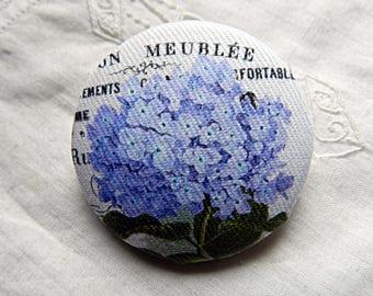 Button fabric, blue hydrangea, 1.57 in / 40 mm