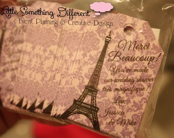 Parisian Thank You Favor Tag / Purple / Damask / Purple and White / Eiffel Tower / Gift Tag / Paris / French / Chic / Gift Tags / Shower