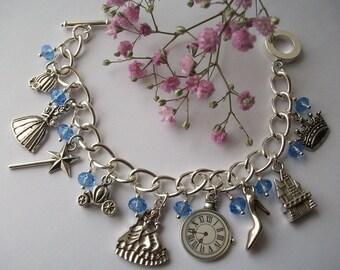 The Stroke of Midnight' Princess inspired charm bracelet. Cinderella.