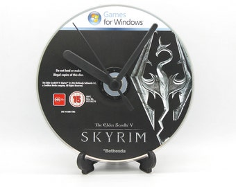 Skyrim The Elder Scrolls V PC Upcycled CD Clock Video Game Collectable Gift Idea