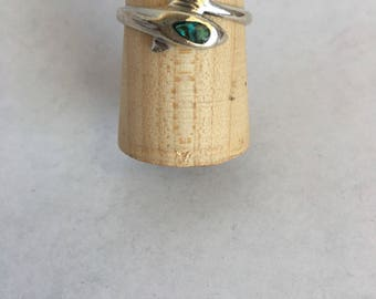Sterling Silver Dolphin Ring W/shell inlay Size 9 1/4