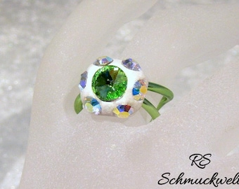 Crystal ring statement ring handcrafted bent engagement wedding Christmas gift aluminum Crystal AB Crystal green epoxy clay