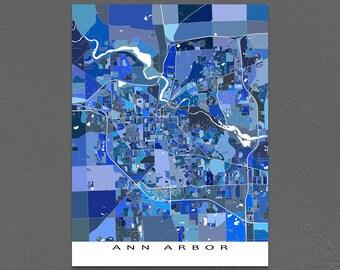 Ann Arbor Map Print, Ann Arbor Michigan USA, City Map Poster