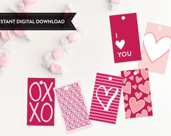 Valentine Printable Treat Tags, Printable Valentine, Valentine's Day, Valentines Day, Treat Bag Topper, Valentine, Instant Download