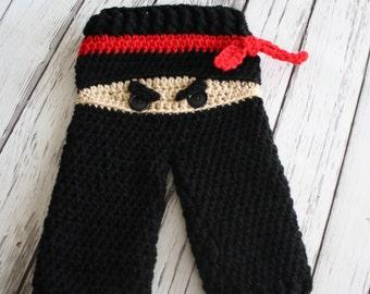 NEW - Ninja Pants - Baby Ninja Pants - Crochet Ninja Pants - Baby Costume Pants - Black Ninja Pants - Crochet Pants - by JoJo's Bootique