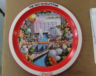 Vintage Coca Cola 1982 Worlds Fair Coca Cola Tray - Knoxville Tn - Worlds Fair Momento