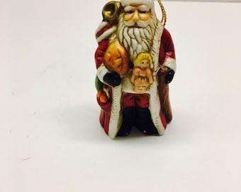 """Vintage Porcelain Sants Claus Ornament - 2.5""""H"""