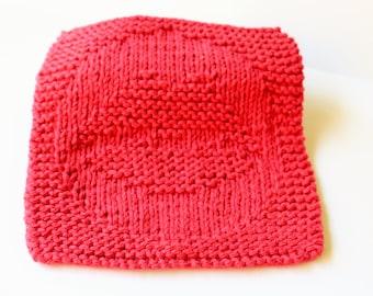 Valentine's Dishcloth, Red Kiss Dishcloth, Cotton Knit Dishcloth,  Knitted Red Washcloth, Red Lips Dishcloth