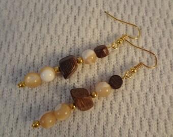 Genuine Brown Mother of Pearl Beaded 22k Gold Earrings -  Katherine F078