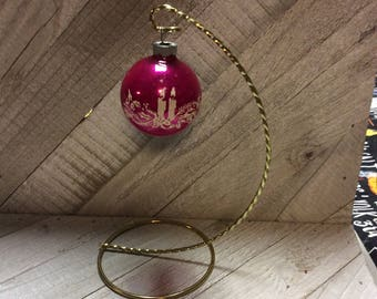 Vintage Mercury Glass Shiny Brite Christmas Ornaments 1950's  Pink Stencil Candle  Ornament