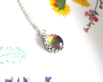 Crown Mood Necklace with Color Changing Stone, Sterling Silver