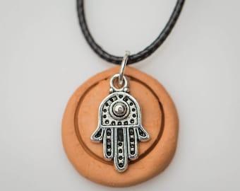 Hamsa Hand Zen Terracotta Diffuser Necklace