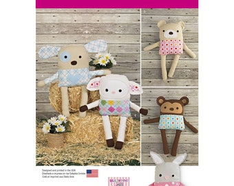 Simplicity 1090 Stuffed Animal Sewing Pattern, Stuffed Dog, Stuffed Bunny, Stuffed Monkey, Stuffed Bear, Stuffed Lamb, Uncut Sewing Pattern
