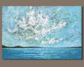 FREE SHIP large seascape painting, abstract painting, ocean painting, oblong, clouds, weather, blue and white nova scotia art, impressionist