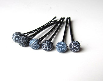 Black and Midnight Blue Bobby Hair Pins Crackled Agate