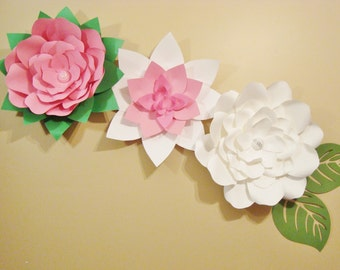 Paper Flowers  - Set of 3 Ready to Ship | Baby Nursery Flowers | Wedding Flowers | Flower Backdrop | Paper Flower Wall | Home Decor