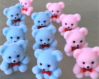 24 Flocked Fuzzy Baby Blue Pink Teddy Bears 1 inch Toppers Embellishments Gift Wrapping Mini Baby Shower Gift Favors Decor