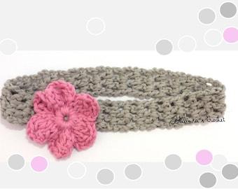 Pink with gray flower headband