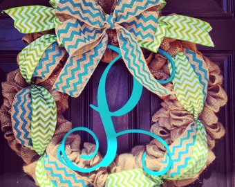 Burlap wreath//vine monogram//Burlap and turquoise chevron bow//Lime and white chevron bow