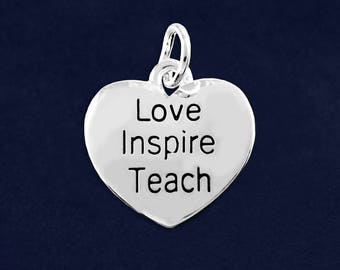 Love Inspire Teach Heart Charm in a Bag (1 Charm - Retail) (RE-C-02-TS)