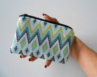 Small Coin Purse Little Padded Zipper Pouch Cosmetic Bag Zippered Pouch ECO Friendly NEW Blue Diamonds