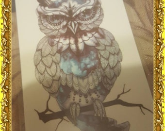 Temporary Owl Tattoo Small