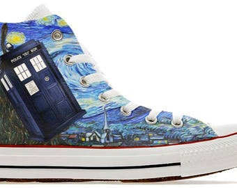 The doctors whovian police public call box time lord  design custom converse high top shoes