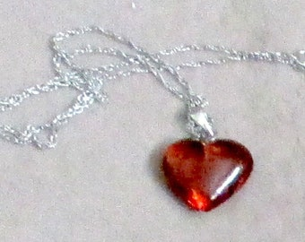 Amber Heart Necklace sterling 925 loop