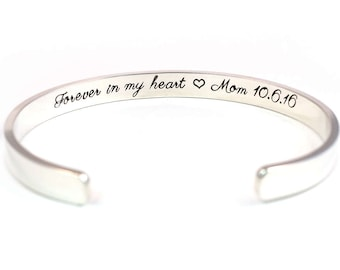 Forever in my Heart Memorial Bracelet, Personalized Sterling Silver Cuff, Hidden Message Bracelet, Memorial Jewelry