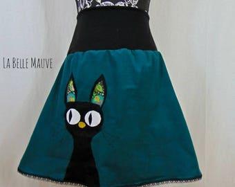 Cat skirt petrol blue