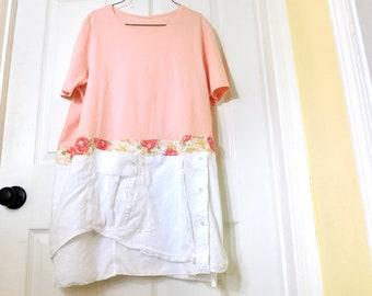 Upcycled Kleidung, Sommer-Shirt, T-Shirt, Garten Tunika, bis radelte Kleidung, Kleidung, Tshirt, Floral, Tunika, Recycling CreoleSha