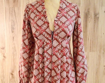 Alley Cat by Betsey Johnson Cardigan, Flared jacket, Red flannel zip-up tunic