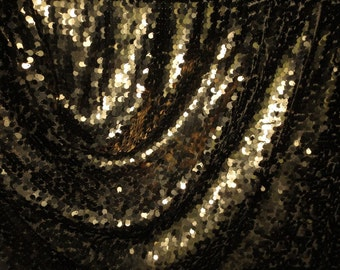 """SPECIAL--Bronze Allover Teardrop Paillettes Stretch Illusion Fabric--""""As Is""""--One Yard"""