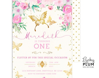 Butterfly Birthday Invitation / Woodland Birthday Invitation / First Birthday Invitation / Pink Purple Birthday Garden Chic Printable BY02