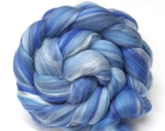 Merino Wool and Silk Blend Combed Top Sky Blue Fine Merino 100g