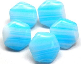 """SALE 5 Czech Glass Buttons, 5 Blue Stripe hexagon 7/16"""", 11mm."""