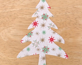 Cute Christmas Tree #1, 8cm x 13.cm Large Iron on Fabric Christmas Tree Applique, made to order, choose your fabrics, ships from UK