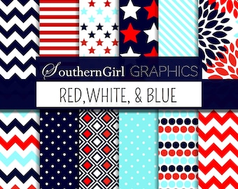 Red, White, and Blue Digital Paper: patriotic, Fourth of July, Independence Day, striped, star, flower, chevron, dot digital paper