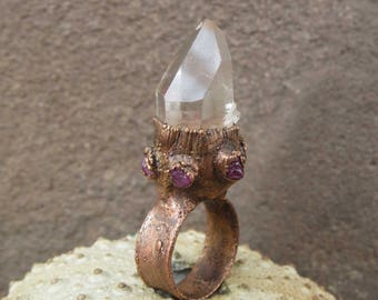 Quartz point ring | Clear quartz ring | Quartz copper ring | Quartz electroformed ring | Pink sapphire ring