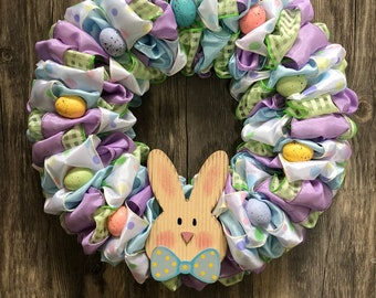 "12"" Pastel Polka Dot Easter/Spring Bunny and Egg Ribbon Wreath"