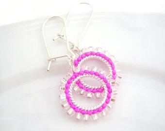 Hot Pink Earrings, Pink Hoop Earrings, Neon Jewelry, Dangle Earrings UK